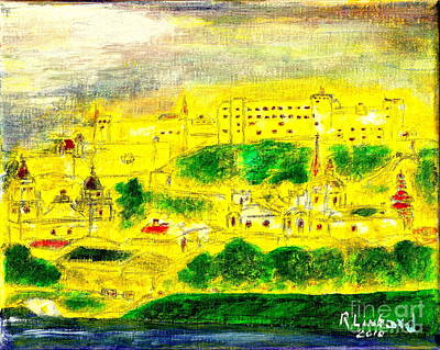 Painting - Fortress Hohensalzburg by Richard W Linford