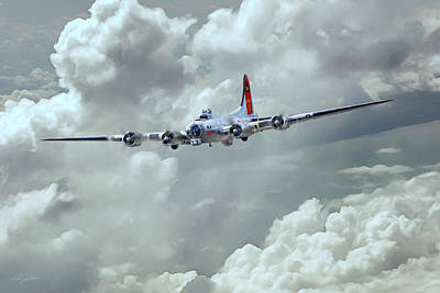 B-17 Wall Art - Digital Art - Fortress In The Clouds by Peter Chilelli