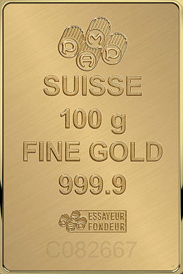 Digital Art - Fortuna Suisse Minted Gold Bar - Reverse by Serge Averbukh