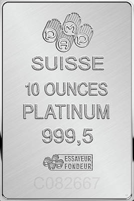 Digital Art - Fortuna Suisse Minted Platinum Bar - Reverse by Serge Averbukh