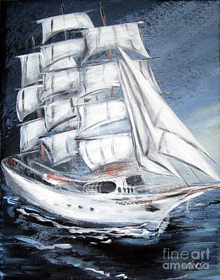Painting - Fortunate. Sailing Ship by Oksana Semenchenko