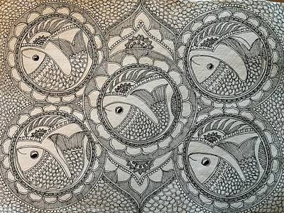 Indian Tribal Art Drawing - Fortune Fish by Shilpa Adavatkar