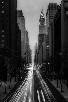 Forty Second Street Noir Art Print by Kenneth Laurence Neal