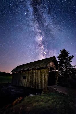 Nightcap Photograph - Foster Covered Bridge - Milky Way by Jeff Bazinet