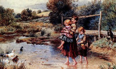 Myles Birket Foster Digital Art - Foster Myles Birket Children Paddling In A Stream by RWS Myles Birket Foster