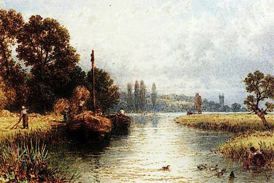 Myles Birket Foster Digital Art - Foster Myles Birket Loading The Hay Barges With A Young Woman Taking Water by RWS Myles Birket Foster