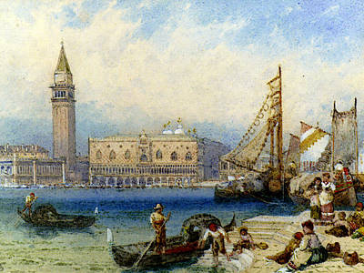 Myles Birket Foster Digital Art - Foster Myles Birket St Marks And The Ducal Palace From San Giorgio Maggiore by RWS Myles Birket Foster