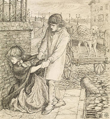 Drawing - Found - Compositional Study by Dante Gabriel Rossetti