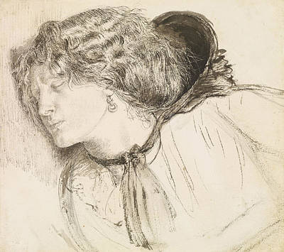 Drawing - Found - Study For The Head Of The Girl by Dante Gabriel Rossetti