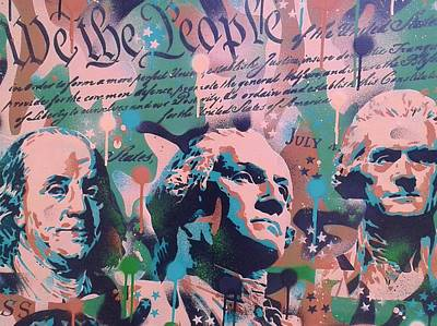 4th July Painting - Founding Fathers by Leon Keay