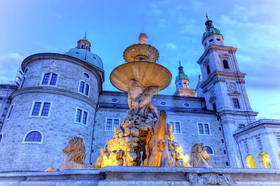 Photograph - Fountain And Cathedral At The Residenzplatz In Salzburg, Austria by Elenarts - Elena Duvernay photo