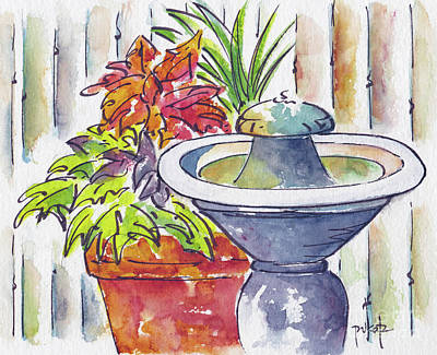 Terra Painting - Fountain And Friends by Pat Katz
