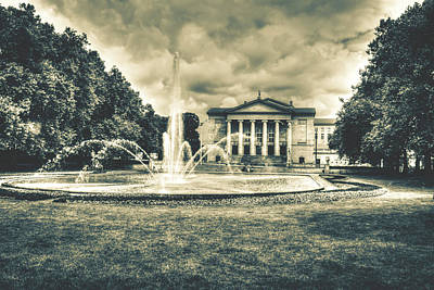 Photograph - Fountain And Great Theatre In Poznan Poland Hdr A by Jacek Wojnarowski
