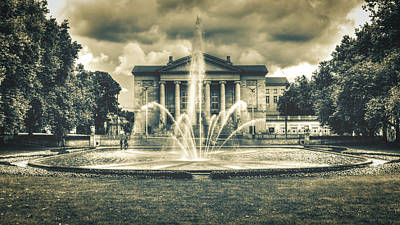 Photograph - Fountain And Great Theatre In Poznan Poland Hdr C by Jacek Wojnarowski