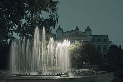 Photograph - Fountain And National Theatre Vasile Alecsandri In Iasi Romania by Vlad Baciu
