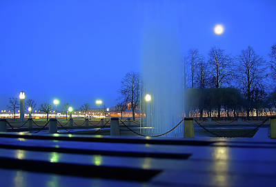 Fountain Photograph - Fountain And The Moon by Nat Air Craft
