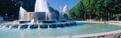 State Capitol Photograph - Fountain And Us Capitol Building by Panoramic Images