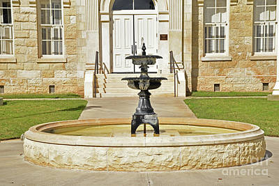 Photograph - Fountain Area Robertson County Courthouse Franklin Tx by Ray Shrewsberry
