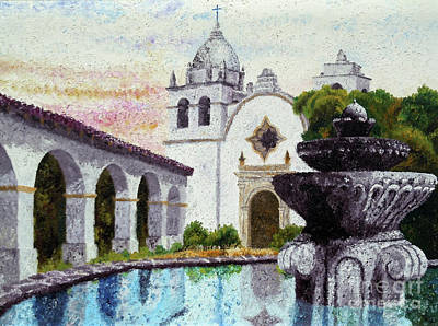 Painting - Fountain At Carmel by Laura Iverson