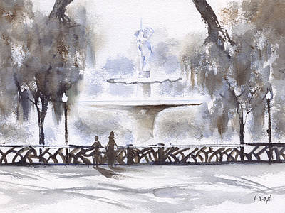 Painting - Fountain At Forsyth Park 2 by Frank Bright