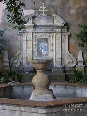 Fountain At Mission Carmel Art Print