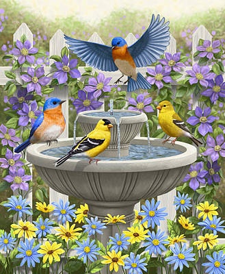 Goldfinch Painting - Fountain Festivities - Birds And Birdbath Painting by Crista Forest