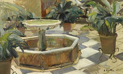 Fountain In A Courtyard, Seville Art Print
