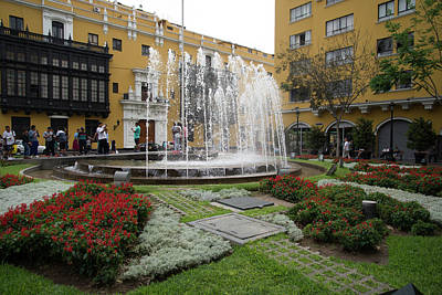 Digital Art - Fountain In Central Lima by Carol Ailles