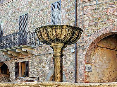 Photograph - Fountain In Main Square Panicale Umbria by Dorothy Berry-Lound