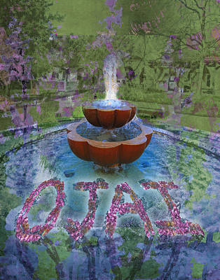 Ojai Wall Art - Digital Art - Fountain In Ojai California by Mary Ogle and Miki Klocke