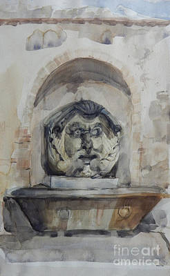 Painting - Fountain In Rome by Greta Corens