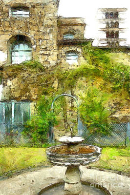 Digital Art - Fountain In The Castle Garden by Giuseppe Cocco