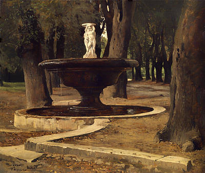 Villa Painting - Fountain In The Park Of Villa Borghese In Rome by Mountain Dreams