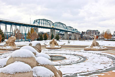 Historic Bridge Photograph - Fountain In Winter by Tom and Pat Cory
