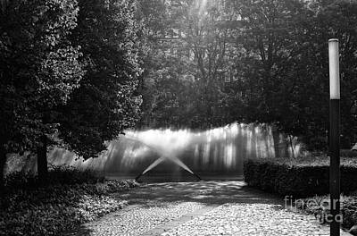 Photograph - Fountain Light In Hamburg Mono by John Rizzuto