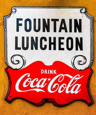 Coca Cola Sign Photograph - Fountain Luncheon Sign by Garry Gay