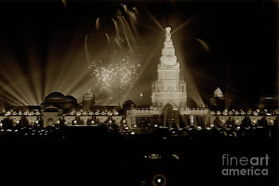 Photograph -  Fountain Of Energy And Tower Of Jewels At Night, Night Illumination 1915 by California Views Mr Pat Hathaway Archives