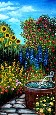 Fountain Of Flowers Art Print