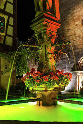 Stone Trough Photograph - Fountain Of Kaysersberg By Night by Paul MAURICE