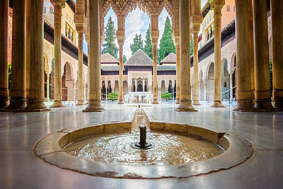 Fountain Of Lions At The Alhambra Art Print