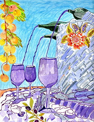 Glass Of Wine Painting - Fountain Of Wine And Lifes Calming Drink by Connie Valasco