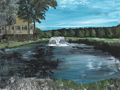 Pallet Knife Painting - Fountain On The River Hills 17th Green by Donna Mann