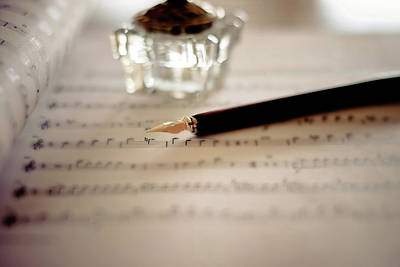 Sheet Music Photograph - Fountain Pen Atop Sheet Music by Nico De Pasquale Photography