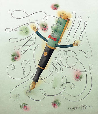 Fountain-pen  Print by Kestutis Kasparavicius