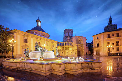 Photograph -  Fountain Rio Turia On Square Of The Virgin Saint Mary by Anek Suwannaphoom