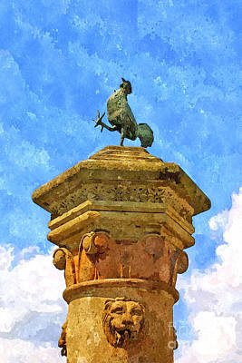 Painting - Fountain With Cockerel by Giuseppe Cocco