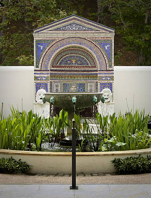 Bronze Mask Photograph - Fountains At The Getty Villa by Teresa Mucha