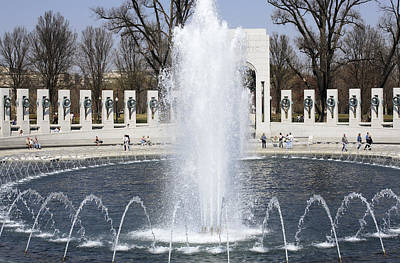 Fountains At The World War II Memorial In Washington Dc Art Print