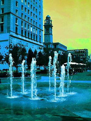 Photograph - Fountains In Blue by Carolyn Jacob