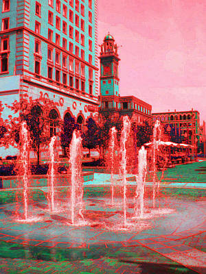 Photograph - Fountains In Red by Carolyn Jacob